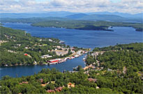 An aerial view of Paugus Bay and Weirs Beach