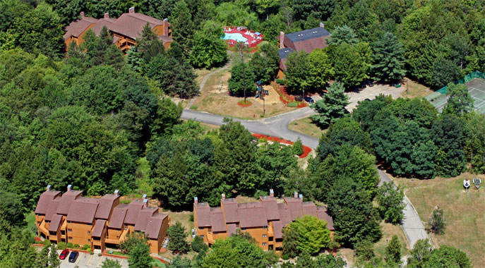 An aerial view of part of the Resort's campus