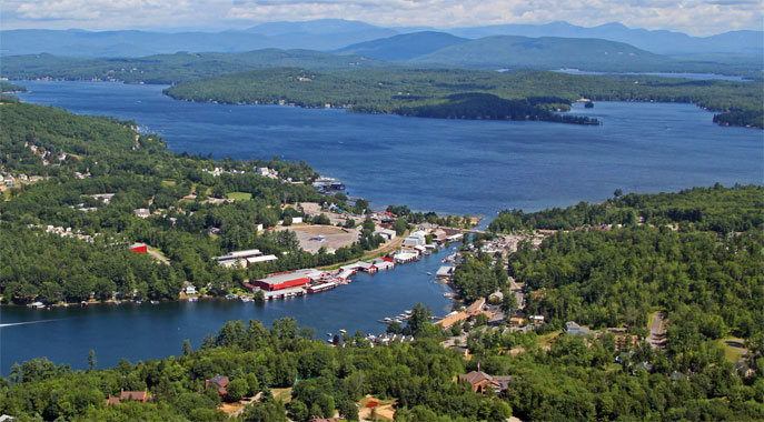 An aerial view of the area surrounding our NH Resort including beautiful views of Lake Winnipesaukee
